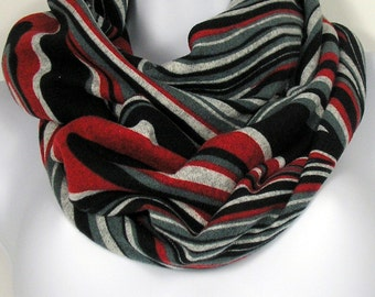 Gray Black Red White Infinity Scarves Womens Winter Scarves Retro Scarves Sweater Knit Scarves Warm Infinity Scarves Fashion Scarf Scarves