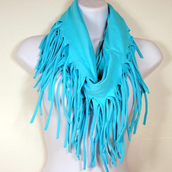 Aqua Blue Fringed Scarf T Shirt Scarves Turquoise Cotton