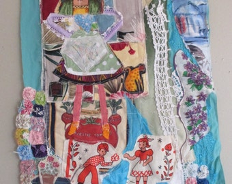 true wealth - Original Fabric Collage - Recycled Patchwork Quilt Materials -  myBonny Outsider Folk Art