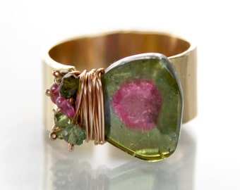 Watermelon Tourmaline Ring, Tourmaline Slice Ring - Gold Filled