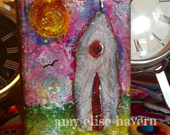 The Little Church with Pink Sky original painting by Texas Artist Amy Elise Havern