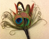 LABOR DAY SALE Boutonniere, Feather boutonniere, peacock wedding, brown feathers, lapel pin, groomsmen,peacock, best man