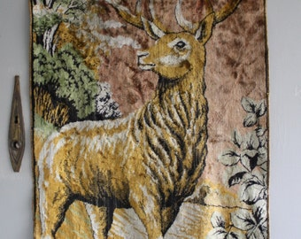 vintage velvet deer wall hanging textile throw rug