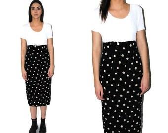 90s grunge dress black + white DAISY print 1990s floral baby doll midi dress medium