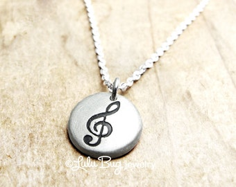 Treble clef necklace, music necklace, musical jewelry, music note necklace, gift for her, silver treble clef charm, musician gift
