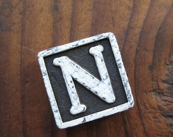 20%OFF SALE Vintage Wood Anagram Game Piece, Vintage N Initial, Black and White, gifts for him, gifts for her, Gifts under 5