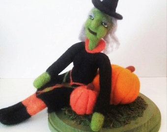 Needle Felted - Witch Doll - Soft Sculpture - Wool Witch - Halloween Decor - Table Top Decor - Shelf Decor - Felted Witch - Pumpkin Patch