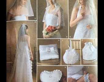 Wedding Veil Mantilla Capelet Vintage Style Millinery Bridal Ring Bearer Pillow Purse Garter Sewing Pattern S4216