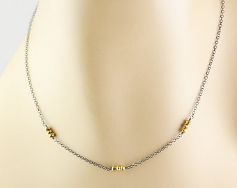 Simple Pyrite Necklace, Minimal Necklace, Oxidized Silver Gold Necklace