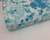 Vintage Retro aqua blue floral sheet 1970's Double Bed size Dri Glo made in Australia