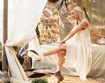 BELLE LACE TUNIC - Boho Bohemian Hippie Wedding Bride Romantic Lagenlook Mori Vintage Shabby chic Plus size Dress - Off white Cream
