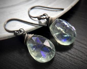 Statement Bold Rainbow Aurora Borealis Fluorite Oxidized Silver Earrings, Gift for women, sister, mom, aunt, girlfriend, wife