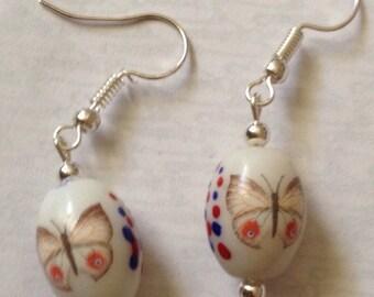 Ceramic white butterfly bead handmade handcrafted earrings