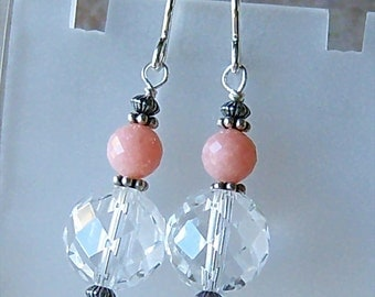 Genuine Peruvian Pink Opal, Crystal Quartz Dangle Earrings, Sterling Silver, Cavalier Creations