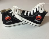Elmo Shoes - Custom Kid Converse Shoes - Custom Personalized High Top Converse Shoes