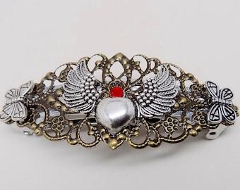 Steampunk jewelry, Steampunk large hair barrette.