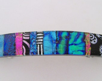 Extra Large Dichroic glass hair  barrette