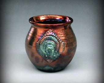 Raku Pottery with African Mask in Metallic and Iridescent Colors