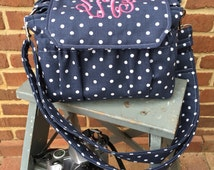 New! Polka dot MEDIUM size Digital Padded Camera Bag with monogram by Watermelon Wishes