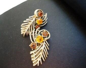 1940's CORO Goldtone Amber Stones Clip Earrings