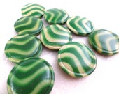 9 Vintage Green Striped Metal Buttons Shank Buttons