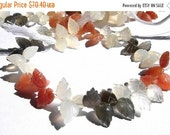 55% OFF SALE Full 7.5 Inches Extremely Beautiful AAA Multi Moonstone Carved Leaf Briolettes 7x10 - 12x8mm approx