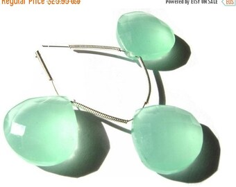 55% OFF SALE 3 Piece set of 18mm Aqua Green Chalcedony Faceted Heart Briolette- Matched pair and a focal pendant