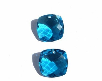 55% OFF SALE Matched Pair - Finest Quality Apatite Blue Quartz Front to Back Drilled Faceted Fancy Cushion Briolettes Size 15x15mm Approx