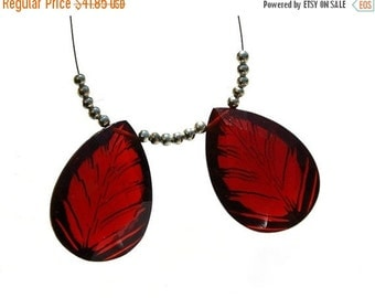 50% Off Valentine day 2Pcs AAA Red Quartz Faceted N Carved Pear Briolette Size 25x18mm approx Match Pair, Focal Pendant, Jewelry Supplies
