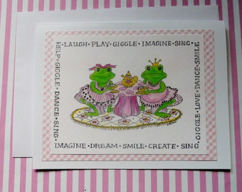 Frog Tea Party Greeting Card