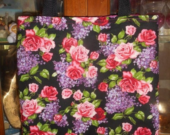 Roses & Lilacs Tote Bag Floral Flowers Handmade Purse Limited Supply