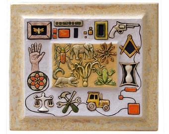 "Animal Hieroglyphs  (8 1/2 "" tall x 12"" wide x 1"" deep)"