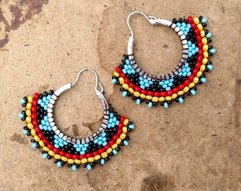 Tribal Hoop Earrings, Beaded Boho Hoops, Red black and blue earrings, southwest style