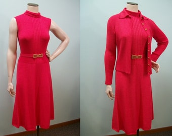 Vintage St. John Knits Dress & Cardigan Sweater . Rhinestone Buttons Belt . Santana Knit