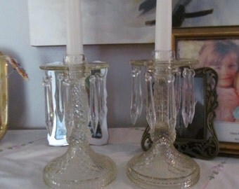 Two Vintage Crystal Candle Holders Prisms Perfect Pair Paris Apartment
