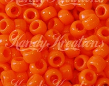 500 Orange Opaque 9x6mm Barrel Pony Beads USA Made for Hair Kandi Craft Bird toy bright colored beading supplies