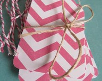 SALE Pink and White Chevron Patterned Tags / Polk-dot Large - Pack of 15