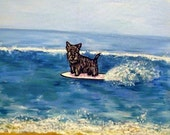 20 % off Scottish Terrier Surfing Dog Art TIle Coaster GIft artwork