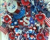 Last one, XXL 4th of July wreath ,XL Custom Order, Patriotic wreath, Labor Day wreath,God Bless America, Summer wreath Door wreath, USA