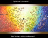 """Modern Wall Art Acrylic painting  Hand Paint Love birds Wall decor wall hangings decorative canvas art """"Over the Rainbow"""" by qiqigallery"""