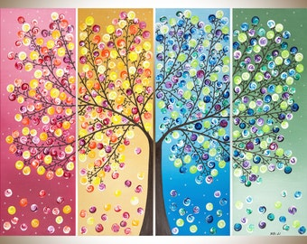 Colorful abstract Painting extra large wall art acrylic Landscape painting rainbow art four season tree shabby chic home decor wall decor