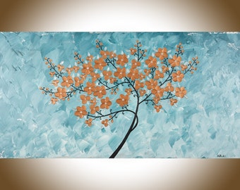 """Original Copper painting large wall art copper home decor Acrylic landscape Painting wall hanging canvas Art """"Copper Blossom"""" by qiqigallery"""