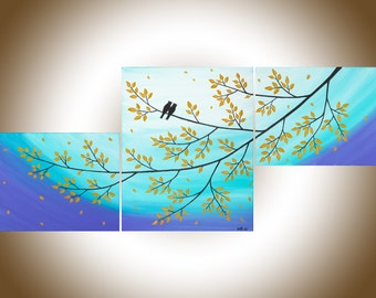 Blue purple wall art Owl painting set of 3 wall art acrylic landscape painting home decor wall art canvas art shabby chic by QIQIGALLERY
