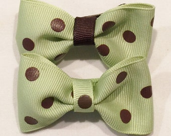 Green Polka Dot Bows Green and Brown Bows Brown Polka Dot Bows Polka Dot Hair Bows Barrettes And Clips