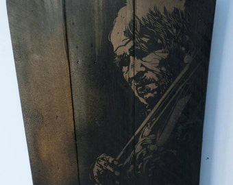 Old Homeless Violinist stencil painting By STENZSKULL