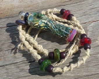 Dope on a Rope Hemp Necklace with Exotic Green Glass Tobacco Pipe MT SHASTA GLASS