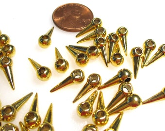 50% Off 20 pcs Gold Spike Beads, Ball Top, Top Drilled, 5x14mm with a 2mm hole, large hole bead  MB1049 AF16