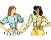 Uncut Vintage Sewing Pattern 1980s Puff Sleeve Princess Seam Blouse Button Front Blouse Long Short bust 36 Simplicity 5900 size Medium Large