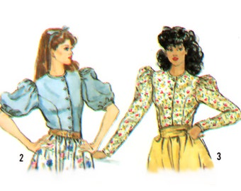 Uncut Vintage Sewing Pattern 1980s Puff Sleeve Princess Seam Blouse Button Front Blouse Long Short bust 36 Simplicity 5900 size Medium Large
