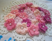 Crochet Flowers set of 25 double layered in A PINK PETALS Theme
